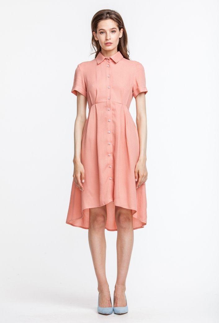 2717 Платье персикового цвета, с рубашечным верхом, юбка разной длины купить в Украине, цена в каталоге интернет-магазина брендовой одежды Musthave