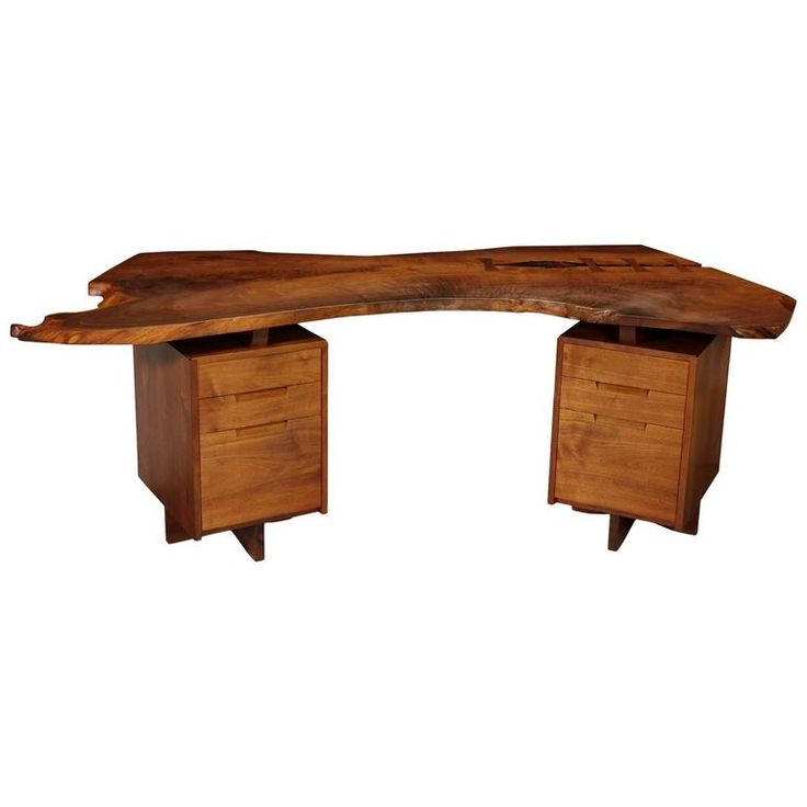 George Nakashima Black Walnut Double Pedestal Desk, Signed and Dated 1
