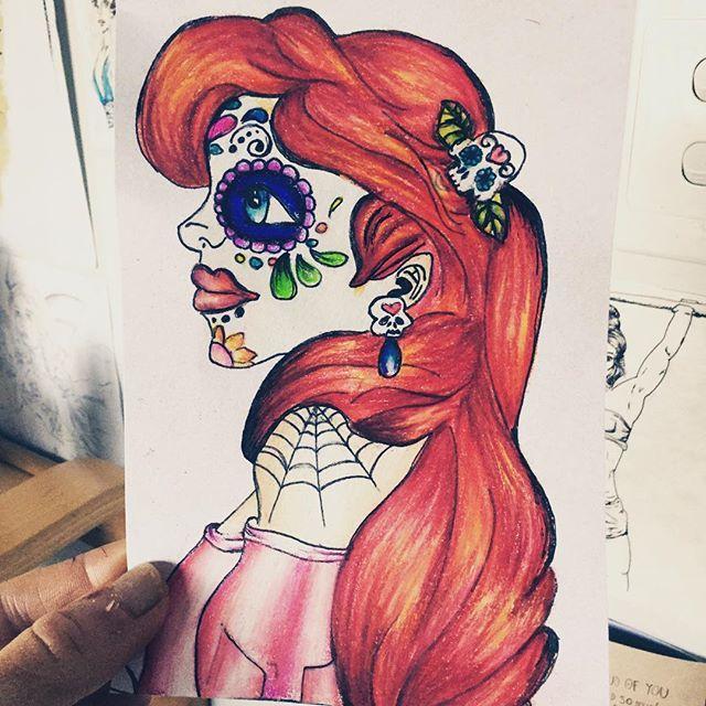 My sugar skull drawing :) #disney #ariel #thelittlemermaid #tattoo #design #tattoodesign #drawing #inspiration #motivation #creative #prismacolor #color #redhair #sugarskull #skull #princess #create #pencils #artist #art #artbook #sketchbook #boho #drawingoftheday #drawsofinsta