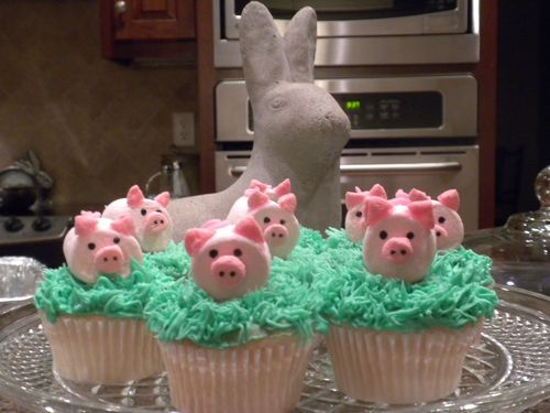 Kattie, Tanna, anyone who likes to decorate cute/funny cupcakes. Pink Pigs Cupcakes