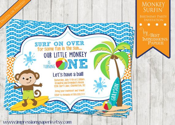 monkey surfin a birthday party invitation by impressionspaperie swimming party surfing party little monkey blue - Swimming Party Invitations