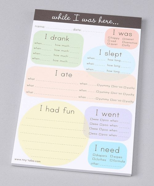 They don't know how you do it, but we do. These little notes make all the difference when you're out and about or at work and your darling is being looked after by a nanny or daycare helper. This cute and handy list sheet makes it easy to keep you up-to-date on your little one's day. From how much they drank to how long they slept, you'll be prepared to take back your sweetheart and keep them happy for the rest of the day.