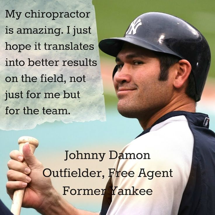 """""""My chiropractor is amazing. I just hope it translates into better results on the field, not just for me but for the team."""" Johnny Damon, Yankee http://chiropractoralbuquerque-thejoint.com/introductory-offer/?utm_source=Pinterest.com"""