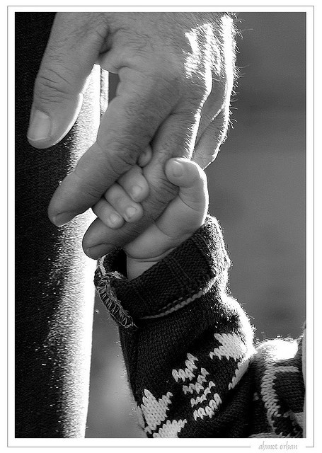 """Lead me daddy..."" There's just something about a little child holding onto their daddy's finger with their tiny little hand that just pulls at the heart strings inside. <3 :')"