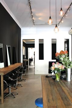 Hair Salon Fit Out by Timbermill Designs / www.timbermill.com.au  Good lighting concept and like the wood.