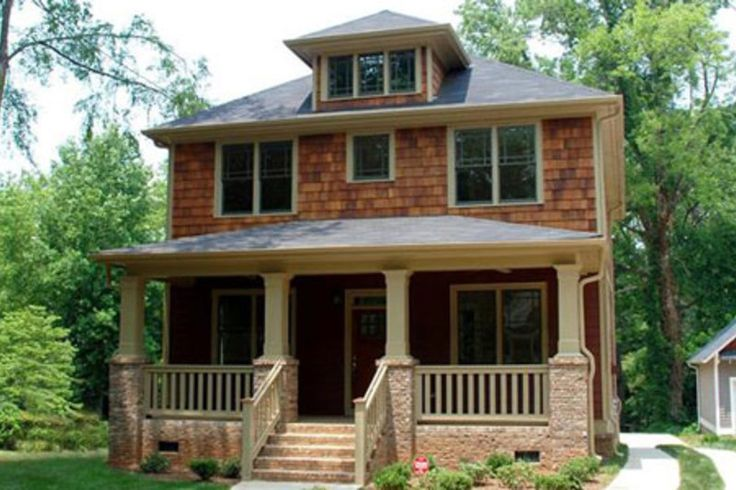 28 best american foursquare houses images on pinterest for American craftsman house plans