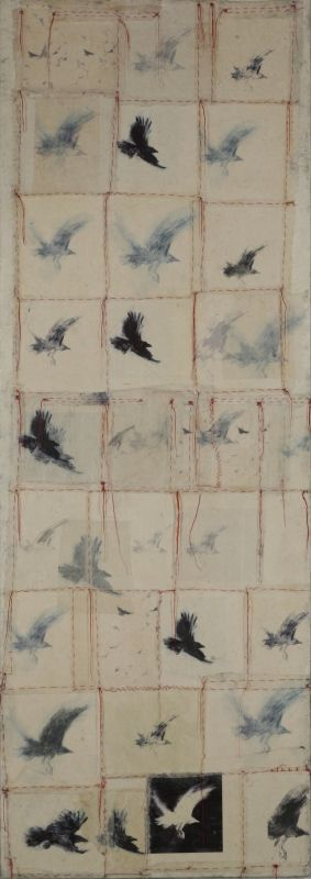 kyugee ii ~ encaustic, red thread and himilayan paper on panel ~ by catherine eaton skinner