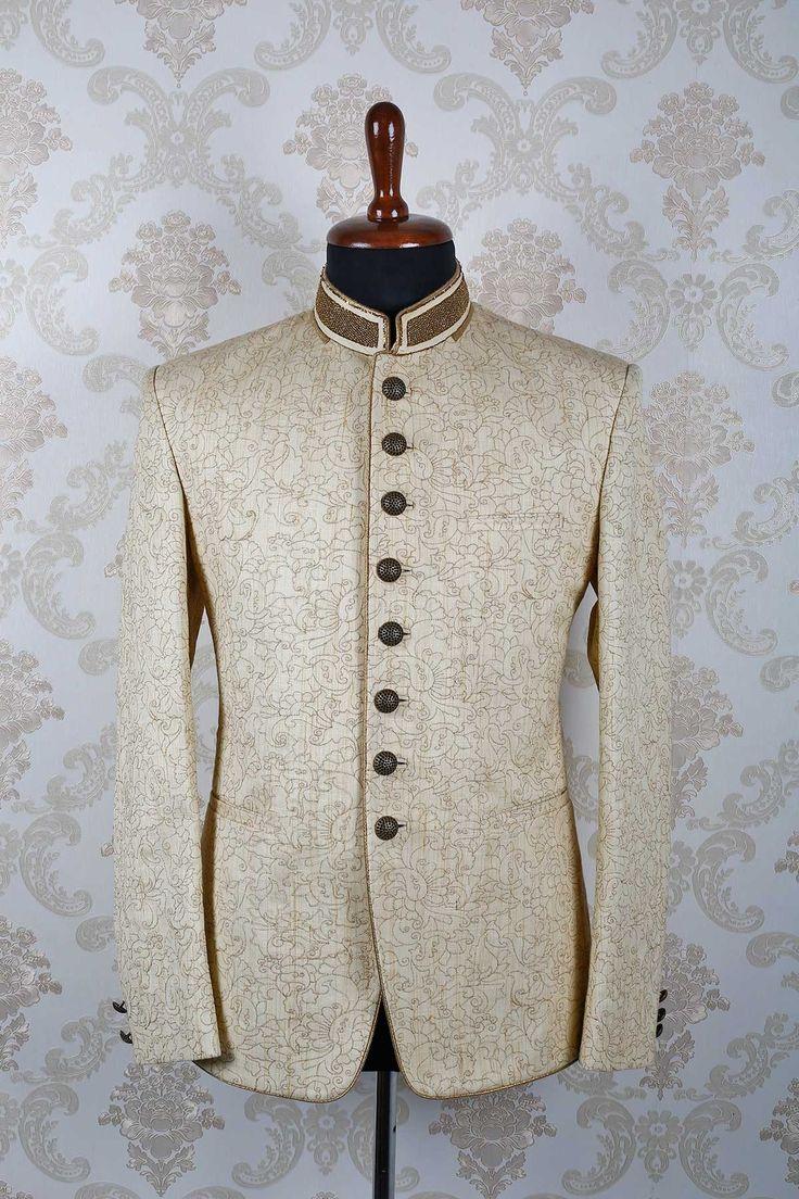 #Cream & #gold italian slim fit #appealing #suit with mandarin collar -ST392