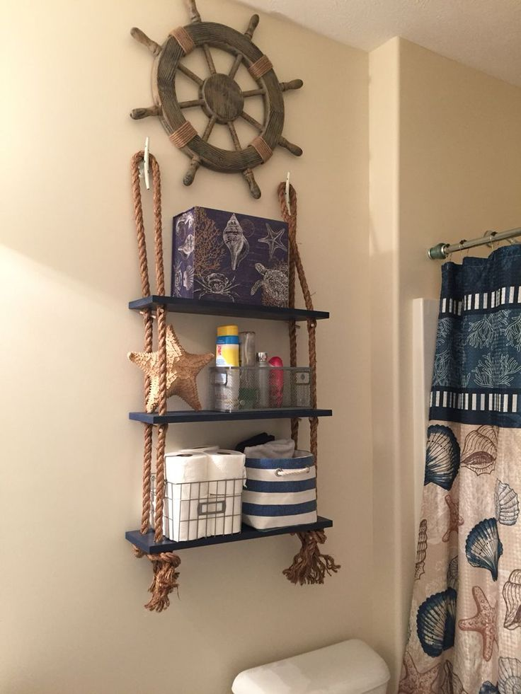 Get the look!  Nautical Shelving from rope swing! Find rope swing plus similar ship wheel at the TWIGS shop!  http://www.t-w-i-g-s.myshopify.com #Lookmarinero