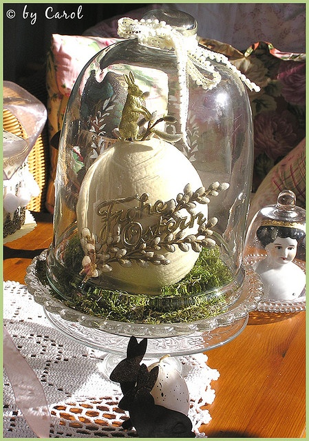 Ostrich egg with German Dresden gold foil bunny and Happy Easter Dresden script (Frohe Ostern in German) in a moss bed under one of my glass cloches.<3