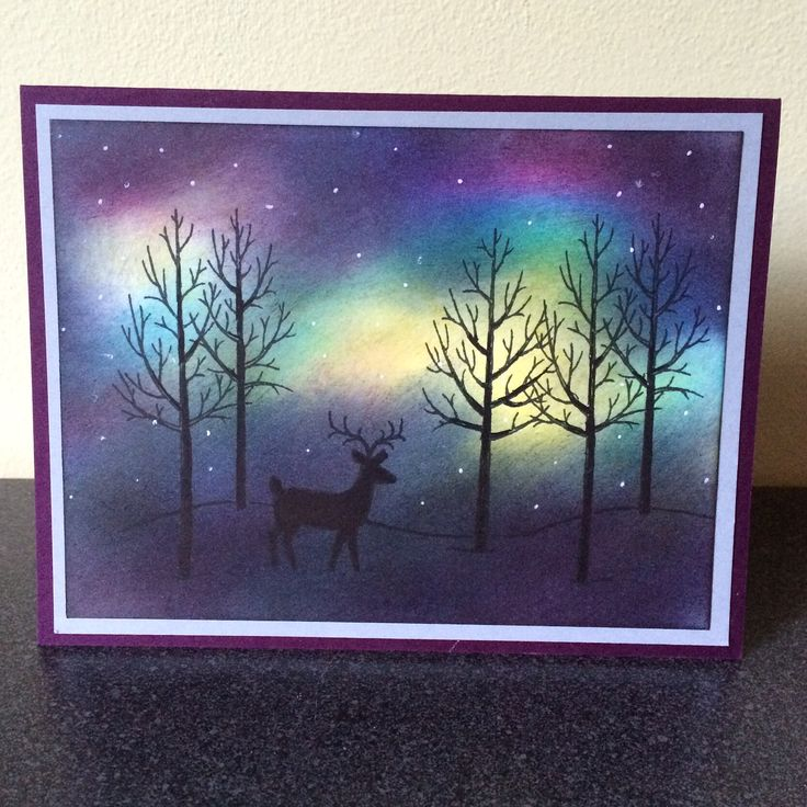 I created some northern lights for the background on this card. The stamped images are from the Stampin' Up! set, White Christmas, available through my website.