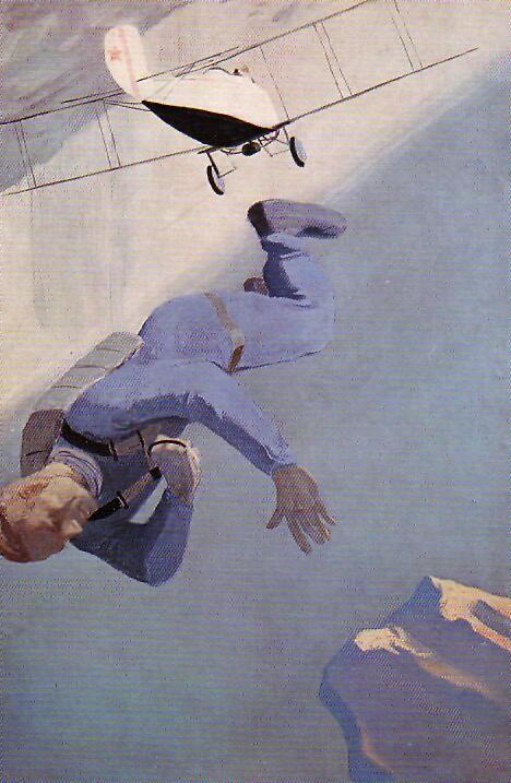 Художник Александр Дейнека. Живопись. Парашютист над морем. 1934