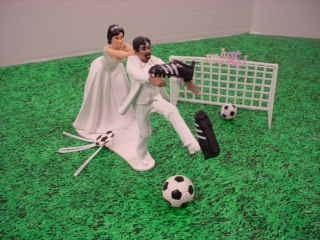 Custom Interracial Couple AA Groom Soccer Sports Wedding Cake Topper