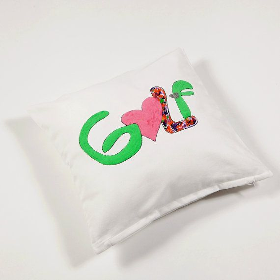 Golf theme cushion in fruity colours by Box4You on Etsy, €15.00