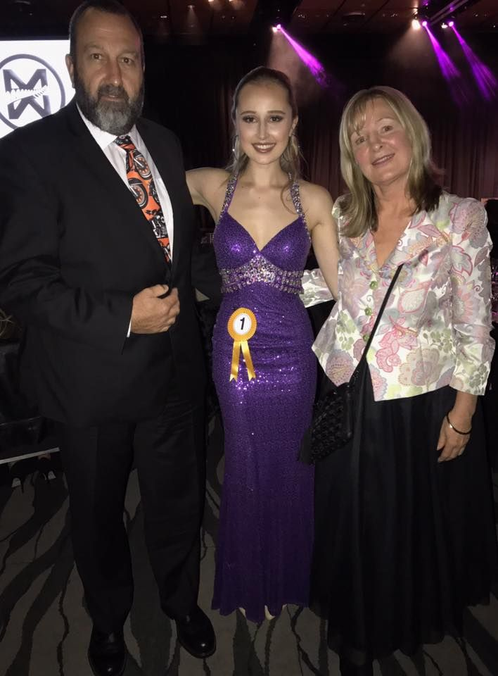 Miss World New Zealand 2017 Pageant. Hadley Grace Robinson Lewis with her parents after winning the title of Miss Tourism- well done! Looking fabulous wearing Bridal and Ball NZ.