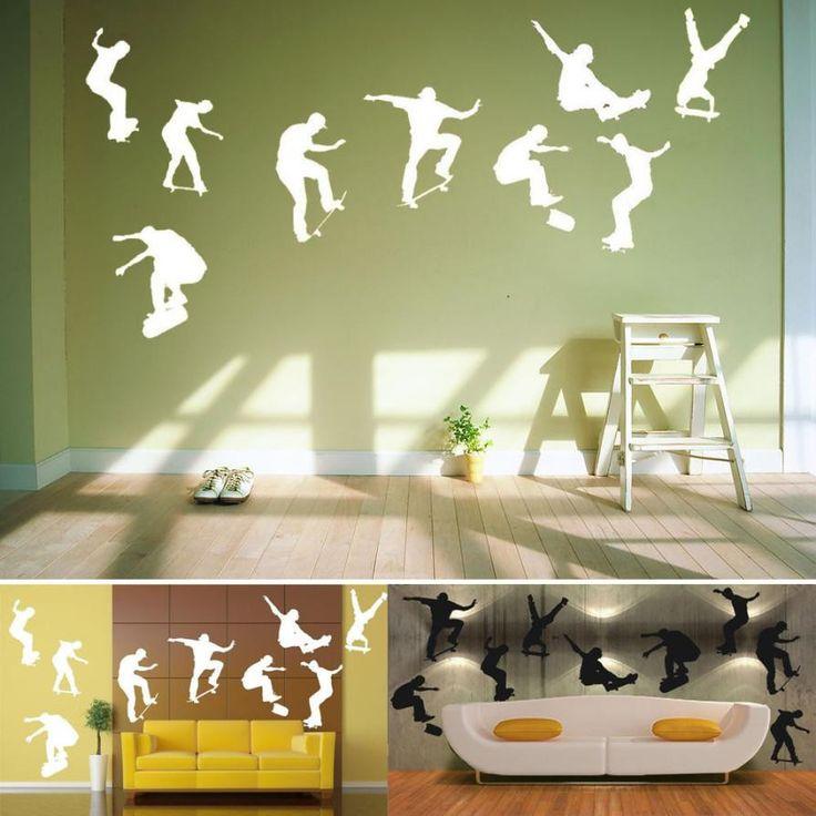 3D Skateboard Wall Sticker Home Decoration