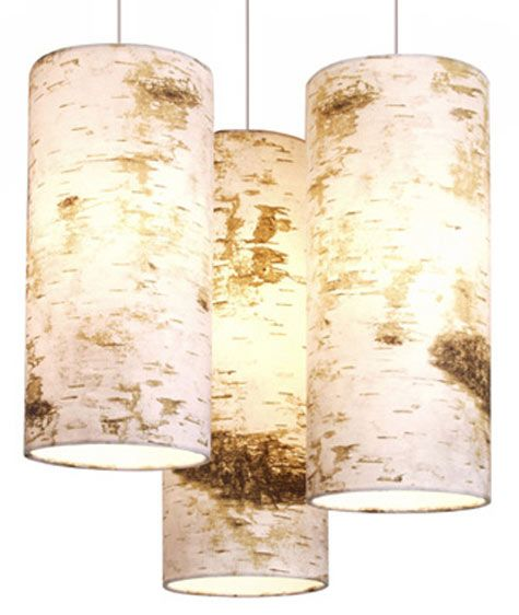 Birch bark pendant lights -- an updated natural look.