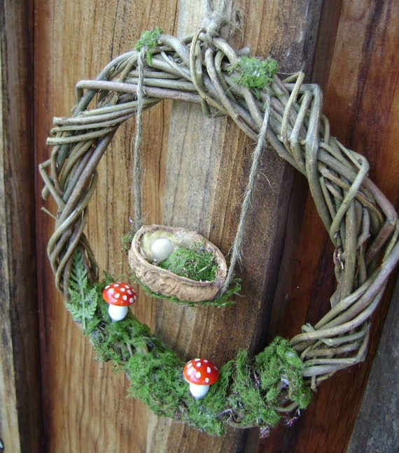 Woodland Forest floor wreath   Waldorf inspired   by softearthart, $30.00