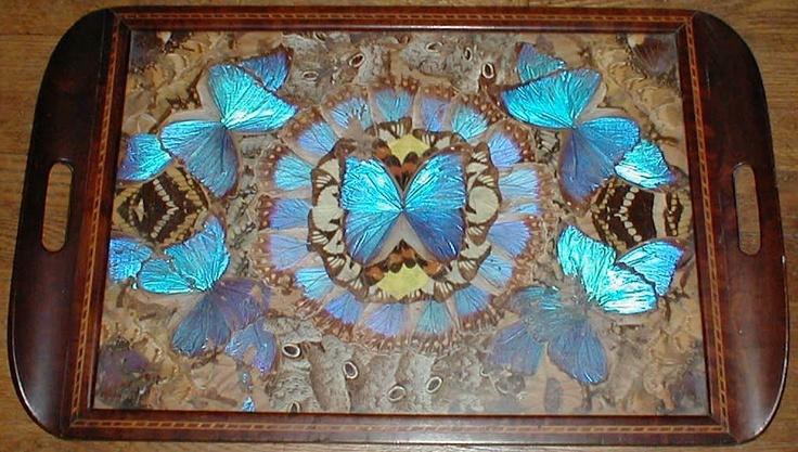 Huge 24 Quot Vintage Art Deco Inlaid Wood Irridescent