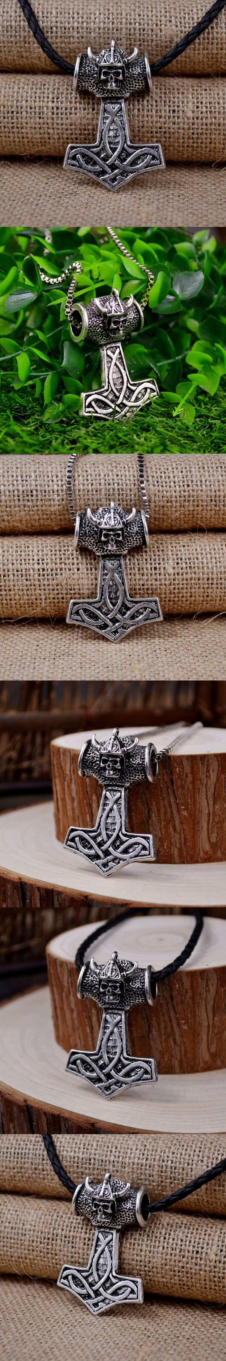"""Mens Silver Thor hammer skull pendant necklace  Norse Viking Necklace jewelry punk long necklaces 24""""chain"""