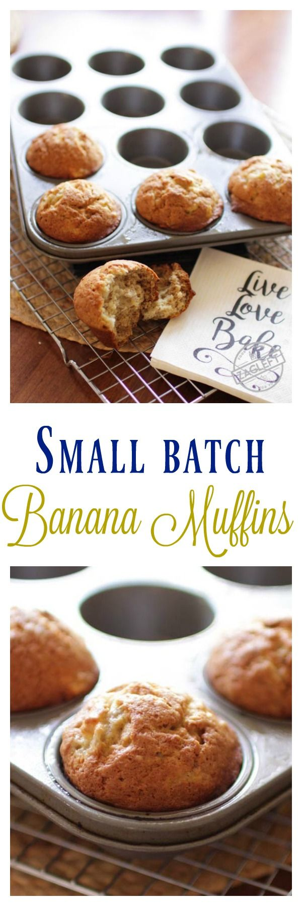 Small Batch Banana Muffins, the perfect amount if you're cooking for one or two. These tender, sweet muffins are perfect for breakfast, snacking or dessert. MAKES 5-6 BANANA MUFFINS | zagleft.