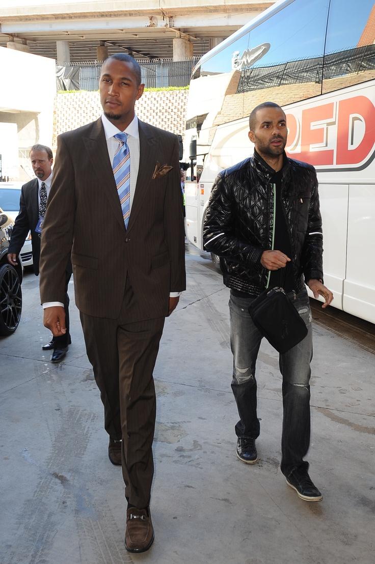 Boris Diaw and Tony Parker, leather jacket, San Antonio Spurs