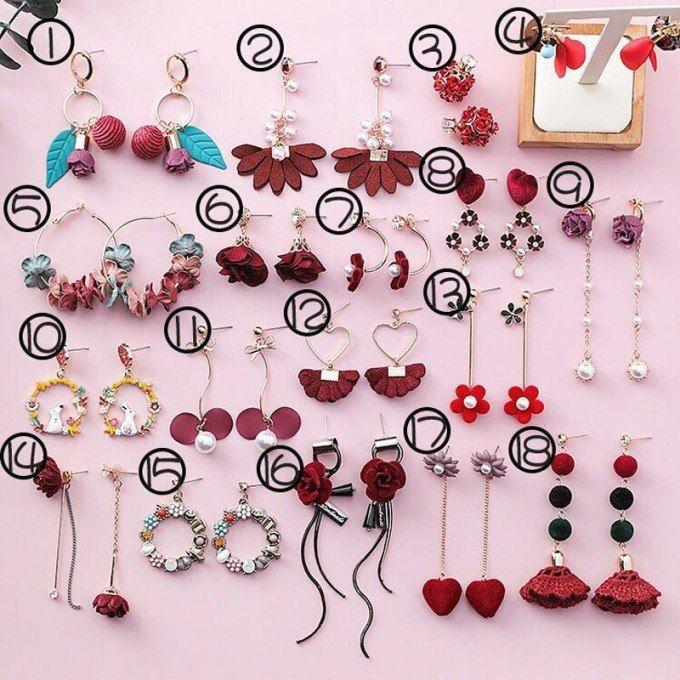 916edbc29fe5d 2019 Korea Japan Red Series Dangle Earrings Acrylic Flower Crystal ...