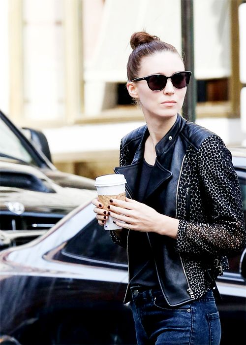 leather jacket // top knot // shades // style inspiration