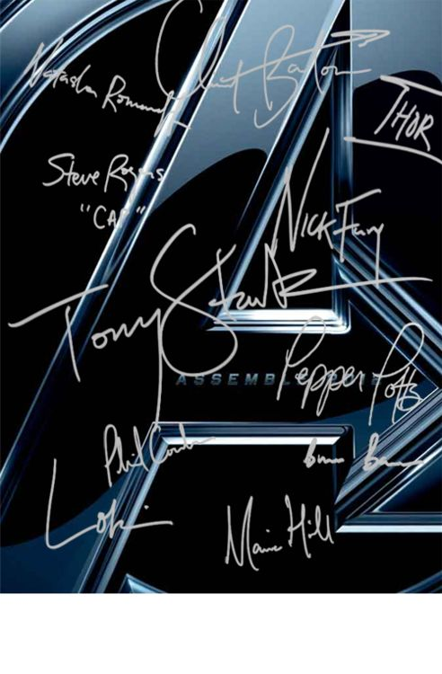 All the Avengers actors signed this as their characters>>Science say that the bigger your signature is, then the more confident you are, and I love how that kinda really fits with these autographs! Tony's are pretty big, and placed almost in the centre, while Bruce's are really small and placed in a corner..