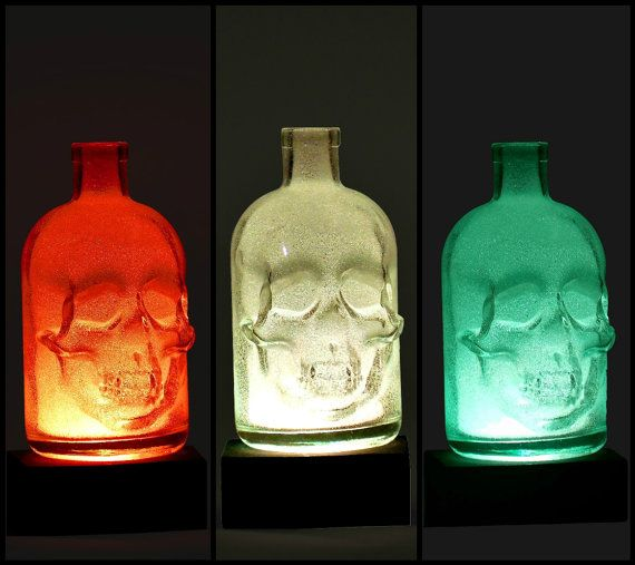 Bottle lamp upcycled recycle lights bottle light skull by GlassEco