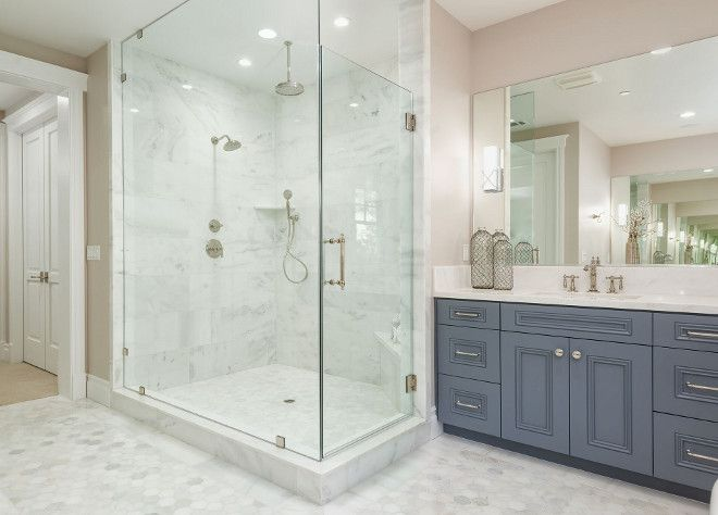 Bathroom with large hex floor tile. Bathroom with large hex floor tiles. Bathroom with large hex floor tiling on floors and shower. Bathroom with large hex floor tile #Bathroom #largehextile #hexfloortile #hextile