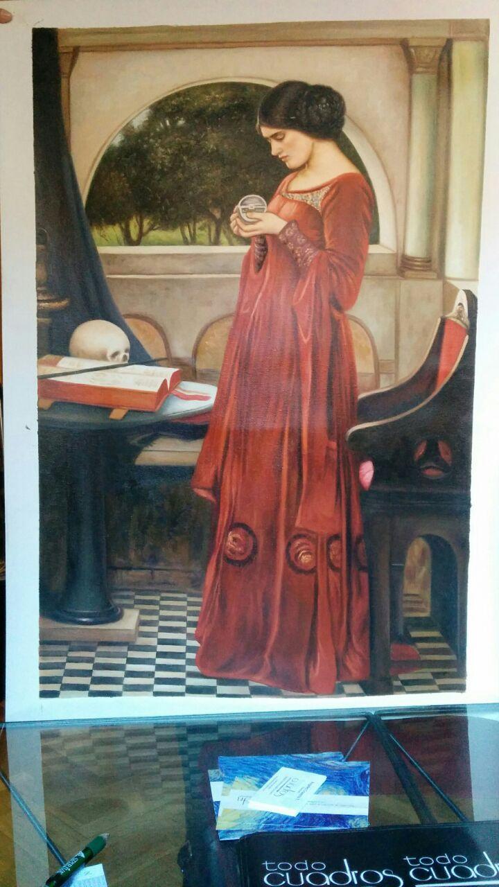 """""""La Sfera di Cristallo"""", J. W. Waterhouse copia realizzata a mano su tela. Un esempio della qualità delle nostre opere."""