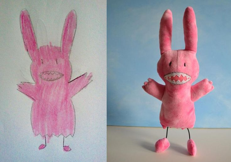 Incredible. This artist will make a stuffed animal based off your children's drawings----as soon as my kid can draw i'm doing this. what a fabulous business!