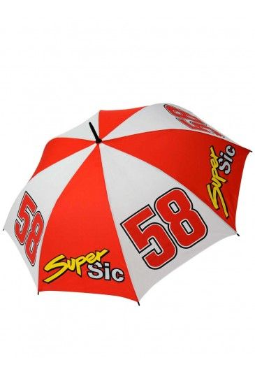 Marco Simocelli Umbrella. Red and white umbrella with the Super Sic logo and the number #58 of Simoncelli.