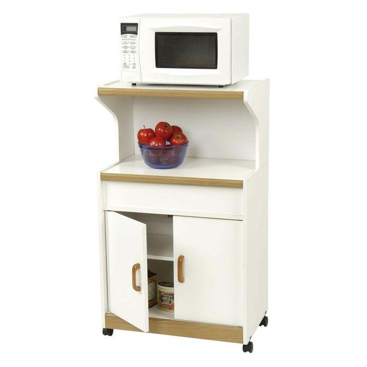 Kitchen Utility Microwave Cart in White & Medium Oak with Lower Storage