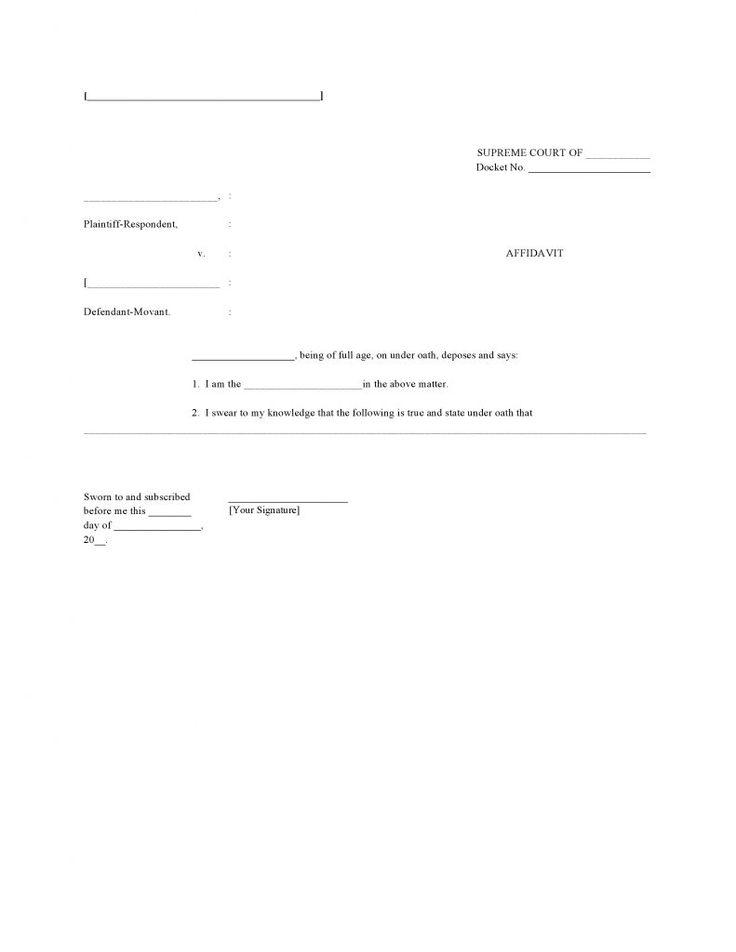Blank Affidavit Template Form #AffidavitForms