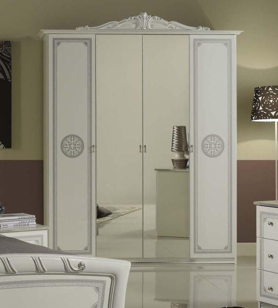 Geena White High Gloss Italian Made Mirrored Wardrobe
