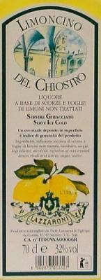 LAZZARONI LIMONCINO DEL CHIOSTRO από οργανικά λεμόνια Σικελίας και συμπυκνωμένη ζάχαρη. Αρωματικά φύλλα λεμονιού εγχύεται για μια εβδομάδα σε αλκοόλη, δίνοντας στο ποτό ιδιαίτερη κομψότητα. Gold Medal 91points in Beverage Tasting Institute