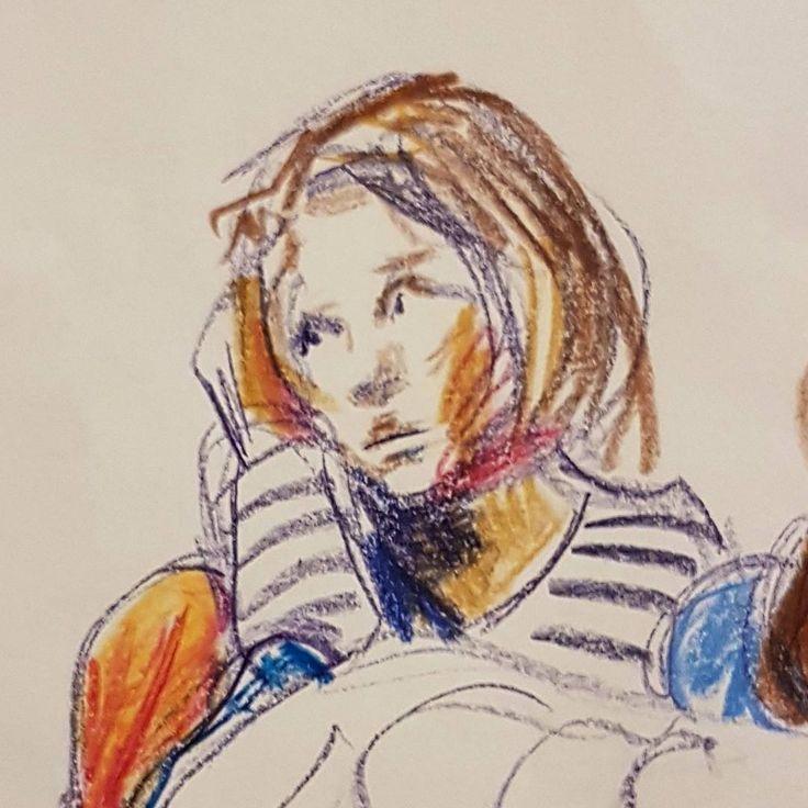 "34 gilla-markeringar, 5 kommentarer - Maria Tomczak (@mariatomczak) på Instagram: ""#sketch #drawing #crayons #neocolor #carandache #illustration #look #portrait"""