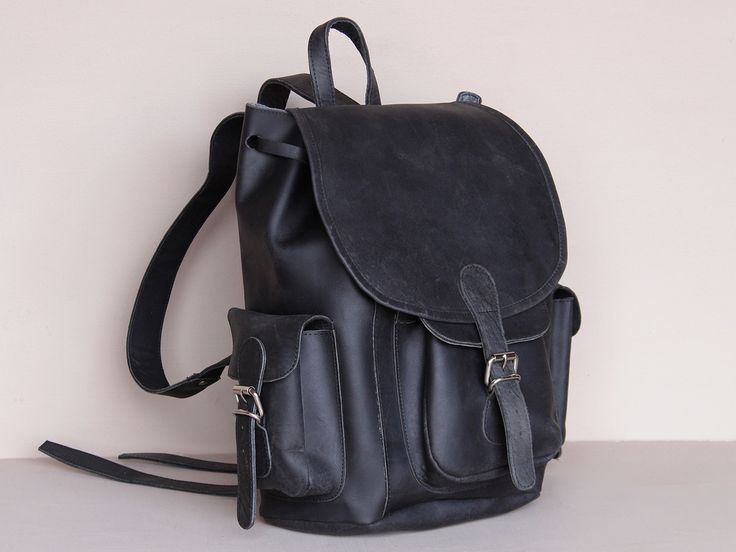 Black Boho Leather Backpack