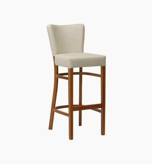 Barstol med klädd sits och ryggparti, många tyger och träfärger att välja på. Ingår i en serie med vanlig stol samt karmstol. Barstolen är tillverkad i trä med bets samt med ett sittskal som är stoppat/klätt. Stolen väger 6,7 kg och är därför lätt för att vara en barstol.  Tyg Lido 100 % polyester, brandklassad. Tyg Luxury, 100 % polyester, brandklassad. Konstläder Pisa, brandklassad, 88,5% PVC, 11,5% polyester.
