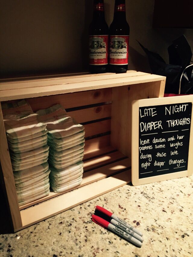 A cute activity for a Co-Ed beer and diaper party.  Super easy! Some of the things were hilarious!
