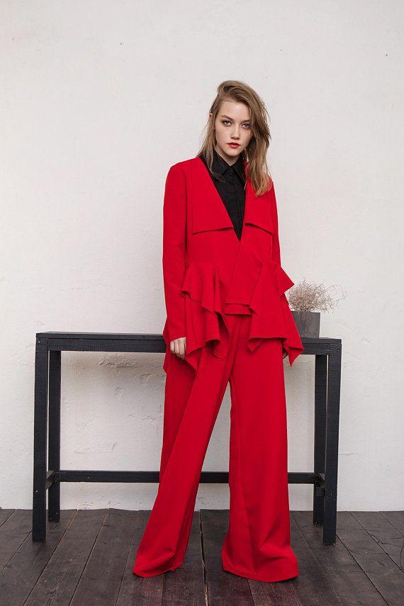 Red Wide Leg Pants Suit