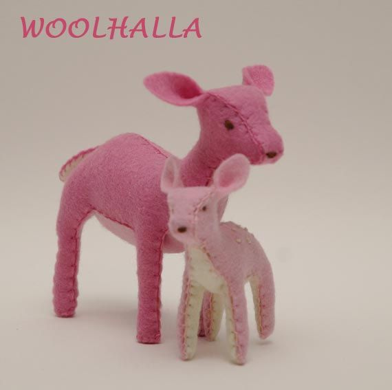 Wool Felt PINK Deer- Mama and Fawn, Woodland, Waldorf Toy, Felt Animal, Fantasy. $39.95, via Etsy.