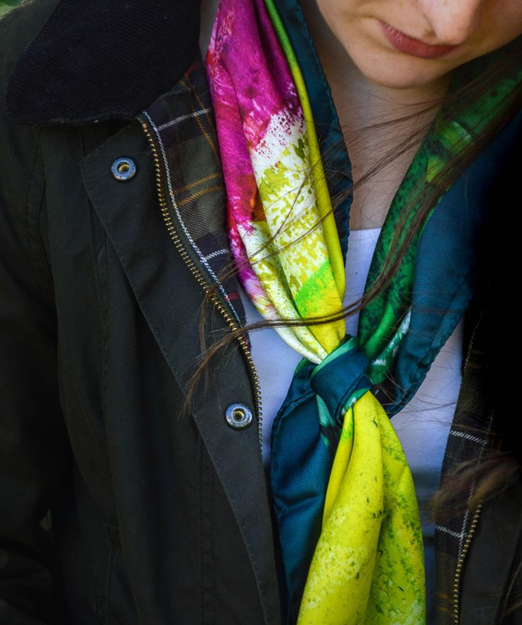 Watson West 'Roses' silk scarf pictured with Barbour - a fab combo