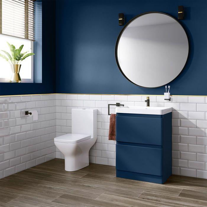 600mm Denver Ii Matte Blue Built In Basin Drawer Unit Floor Standing Blue Bathroom Bathroom Interior Bathroom Makeover