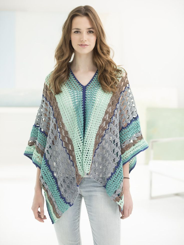 Make this beautiful airy poncho with brand new 24/7 Cotton! You'll love this 100% mercerized cotton yarn for all your projects! Free crochet pattern calls for 8 balls of yarn (pictured in jade, mint, café au lait, silver, and navy) and a size G-6 (4mm) crochet hook.