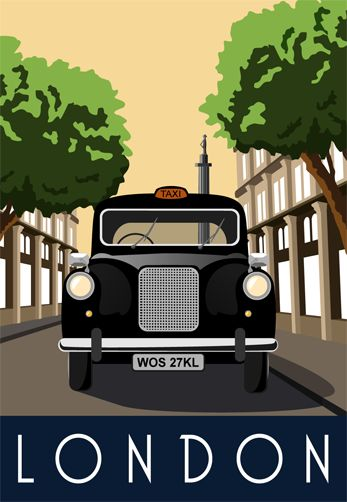 London Taxi. Seen this street somewhere before!! Illustration drawn by Karen Wallace of White One Sugar. For sale on our site.