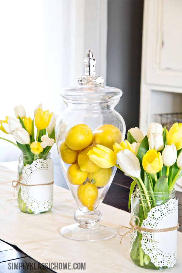 easy spring centerpiece idea lemons and tulips yellow bliss road