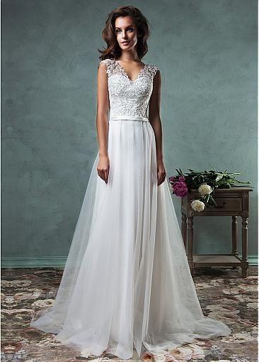 Elegant Tulle V-neck Neckline A-line Wedding Dresses with Embroidery